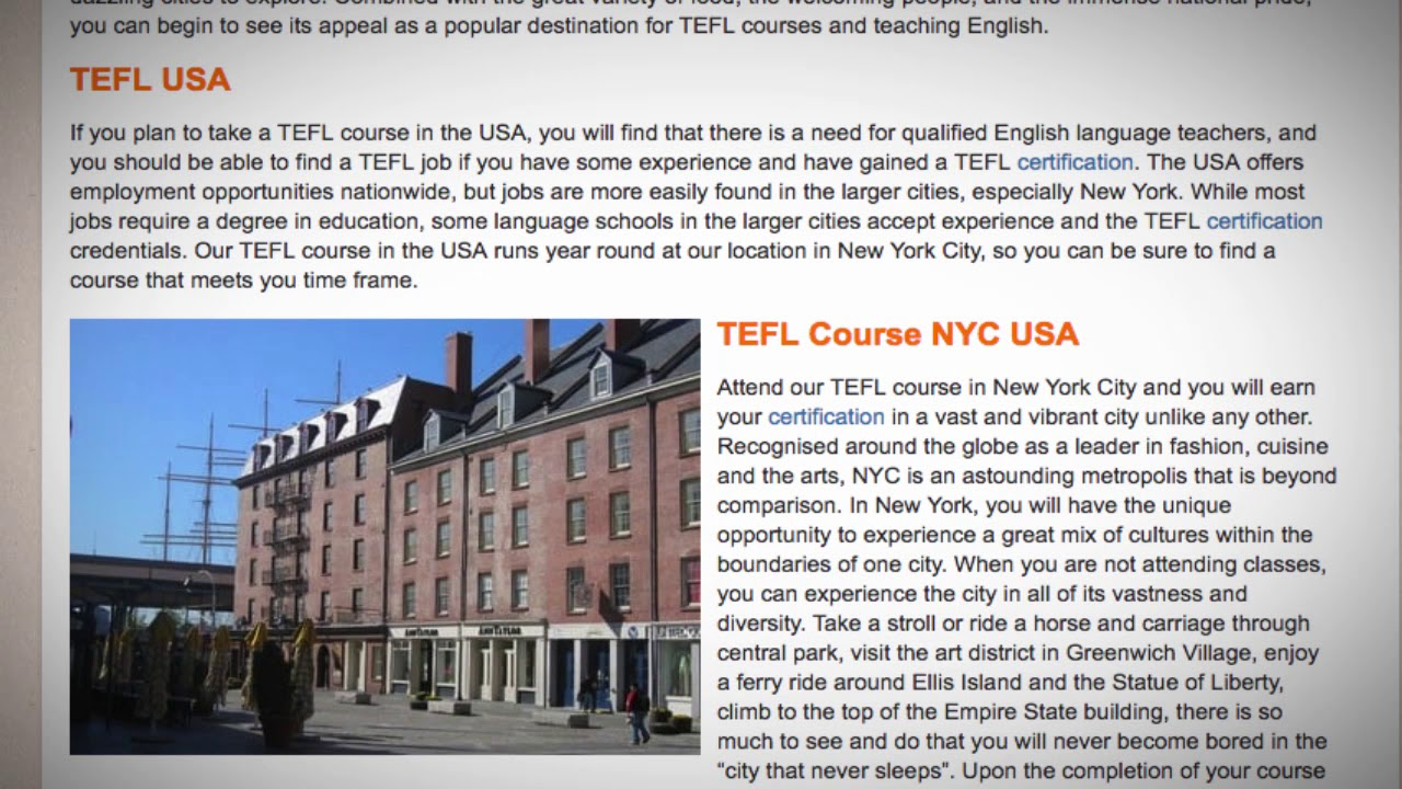 TEFL / TESOL Course in the USA | Teach & Live abroad!