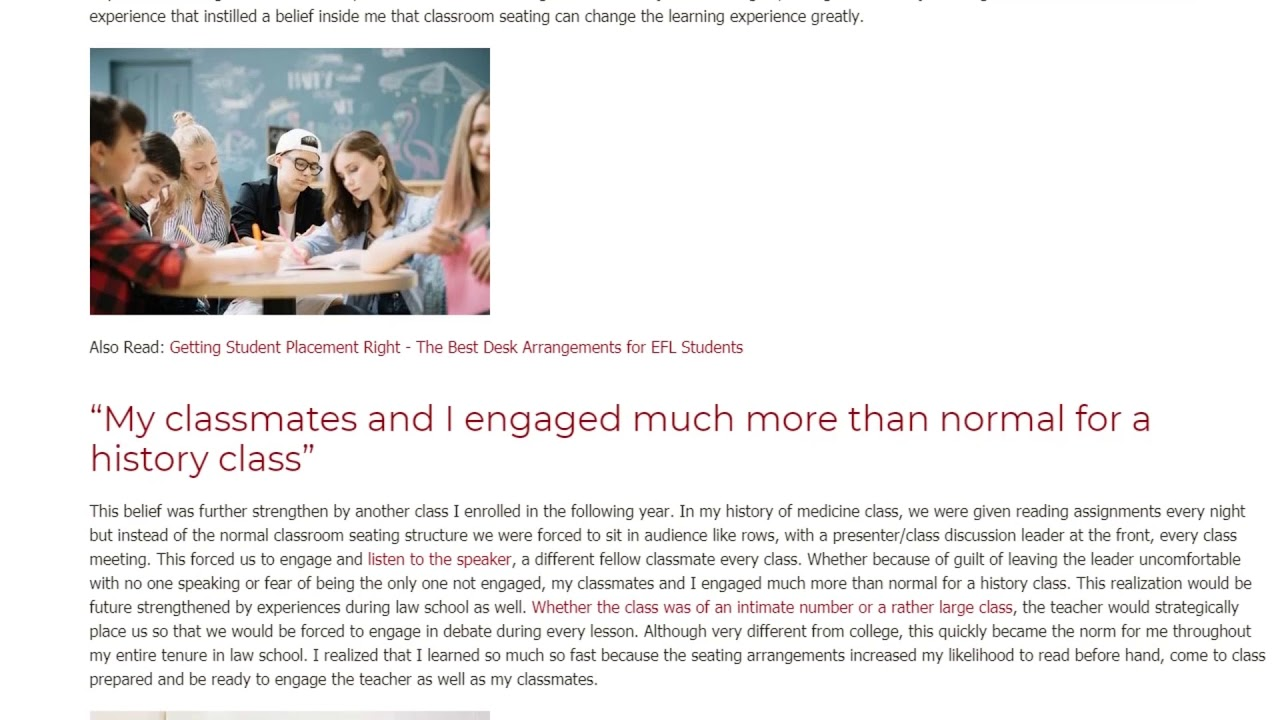 How My Personal Experience Highlights the Importance of Seating Arrangements | ITTT TEFL BLOG