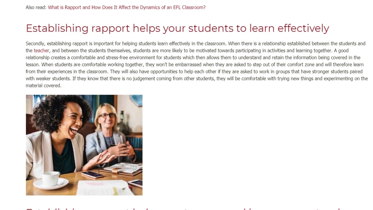 3 Essential Reasons for Establishing Rapport in the EFL Classroom | ITTT TEFL BLOG