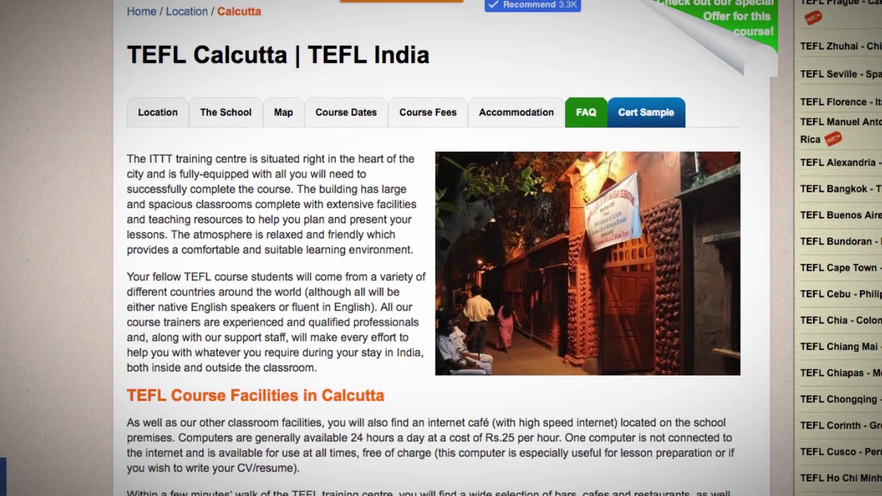 Welcome to Our TEFL / TESOL School in Calcutta, India | Teach & Live abroad!