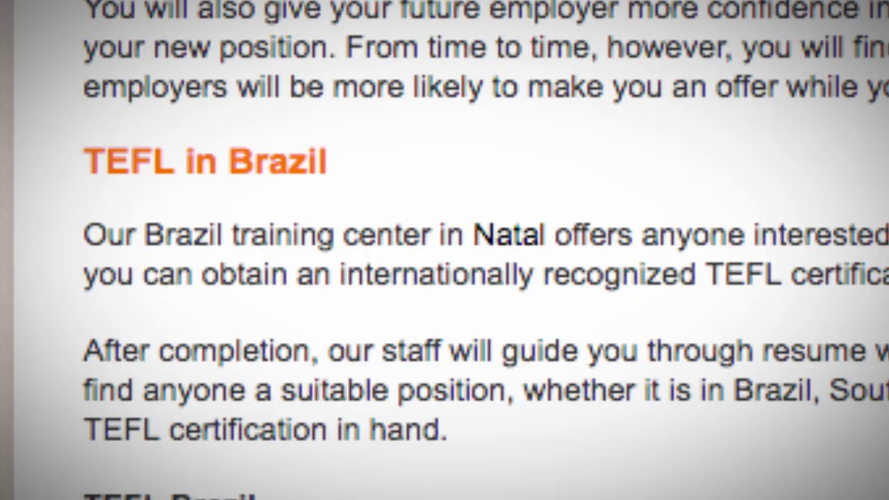 TEFL/TESOL Jobs in Brazil | International TEFL and TESOL Training (ITTT)