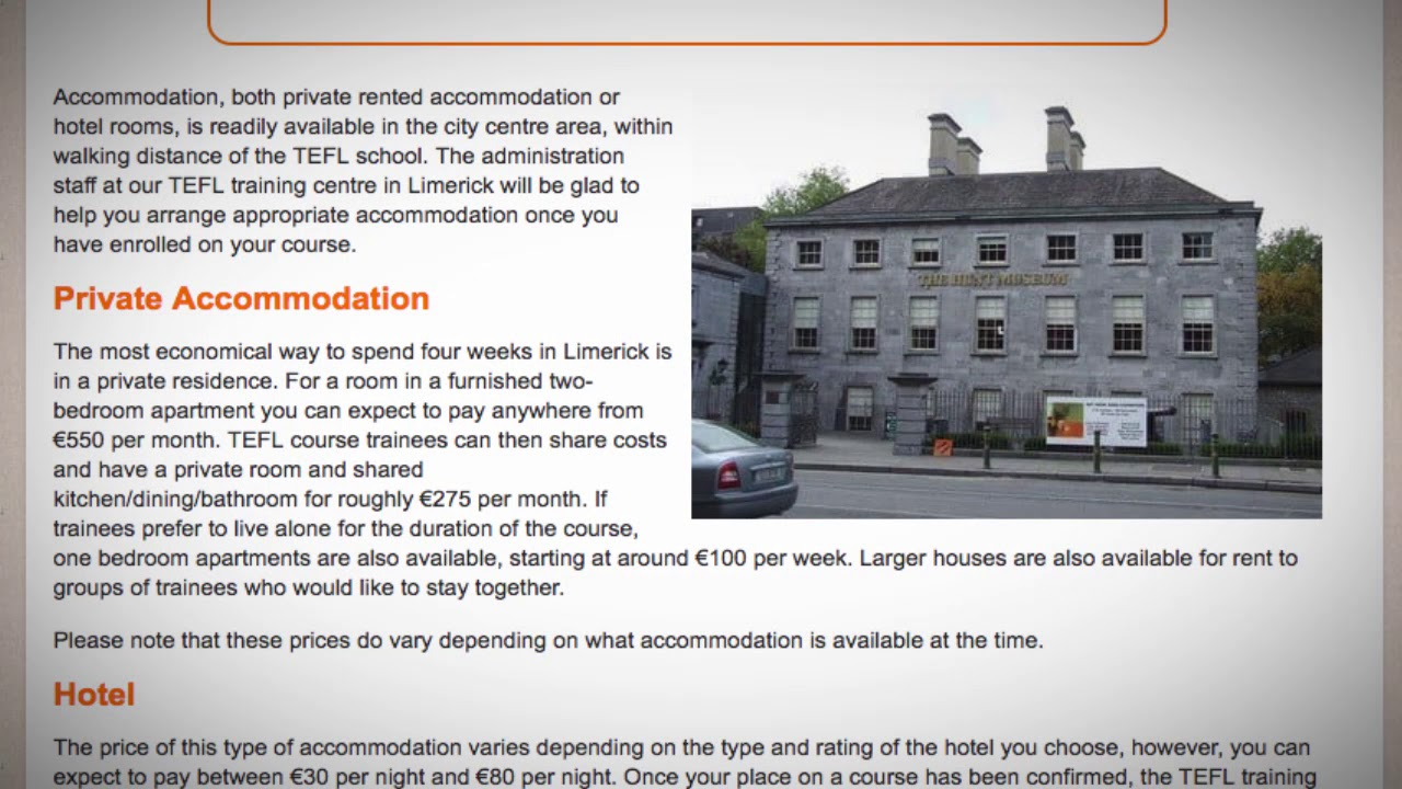 TEFL / TESOL School Accommodation in Limerick, Ireland | Teach & Live abroad!
