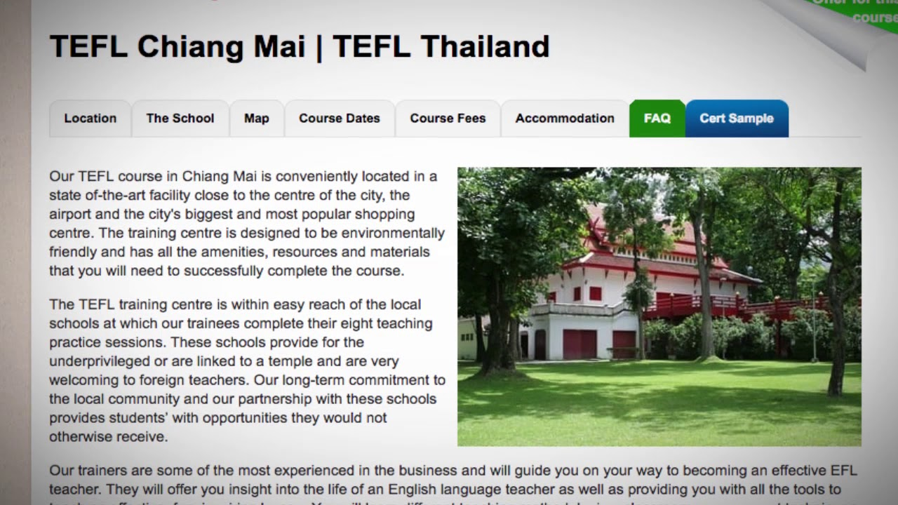 Welcome to Our TEFL / TESOL School in Chiang Mai, Thailand | Teach & Live abroad!