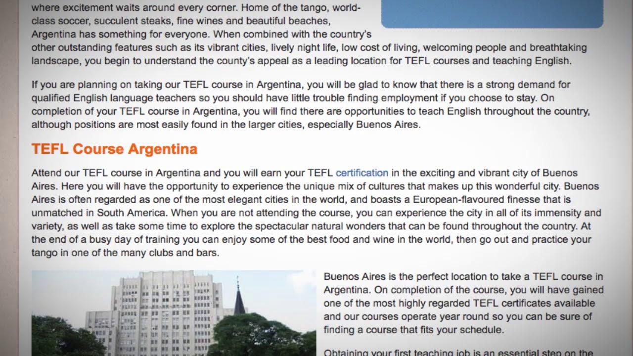 TEFL / TESOL Course in Argentinca   Teach & Live abroad!