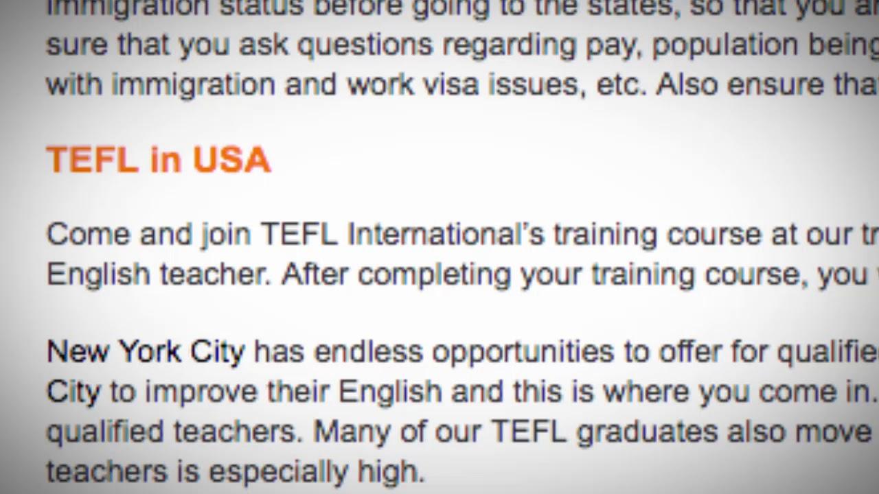 TEFL/TESOL Jobs in the USA | International TEFL and TESOL Training (ITTT)