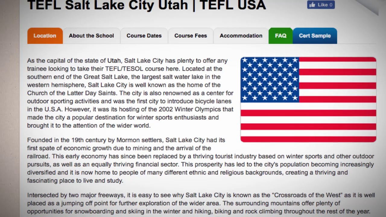 TEFL / TESOL Course in Salt Lake City, USA   Teach & Live abroad!