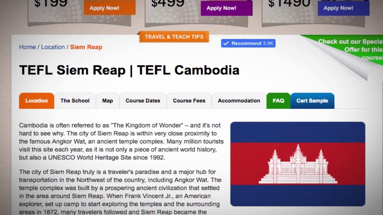 TEFL / TESOL Course in Siem Reap, Cambodia   Teach & Live abroad!