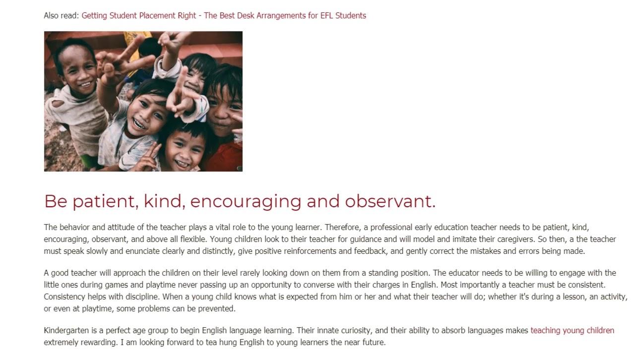 Top Qualities To Teach Kindergarteners   ITTT TEFL BLOG