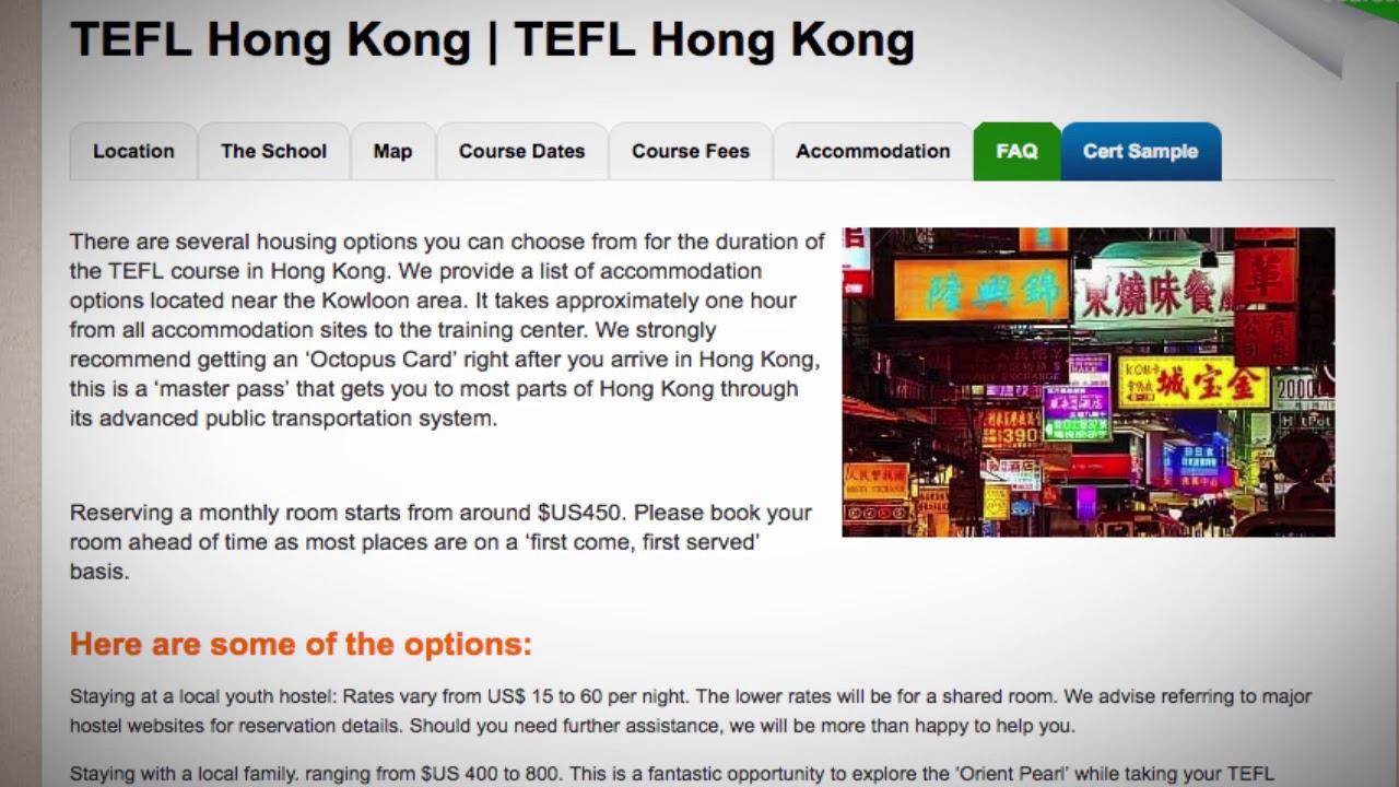 TEFL / TESOL School Accommodation in Hong Kong | Teach & Live abroad!