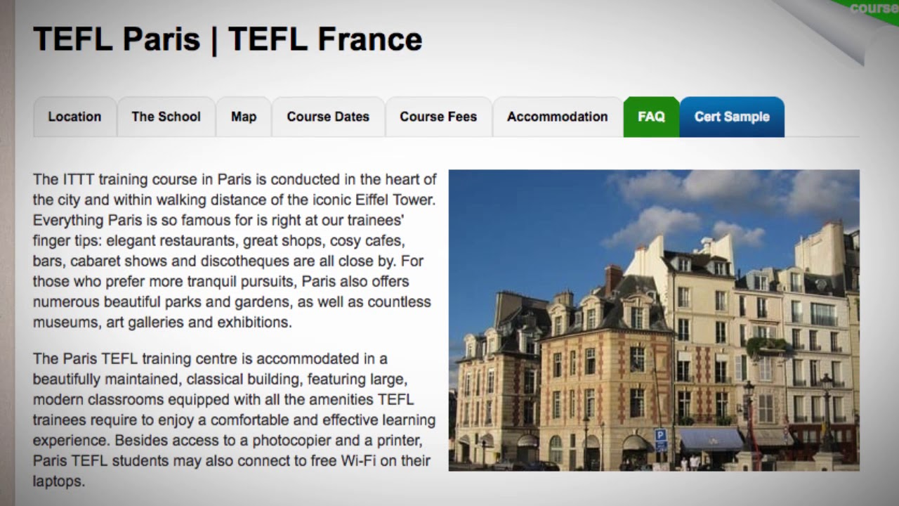 Welcome to Our TEFL / TESOL School in Paris, France | Teach & Live abroad!
