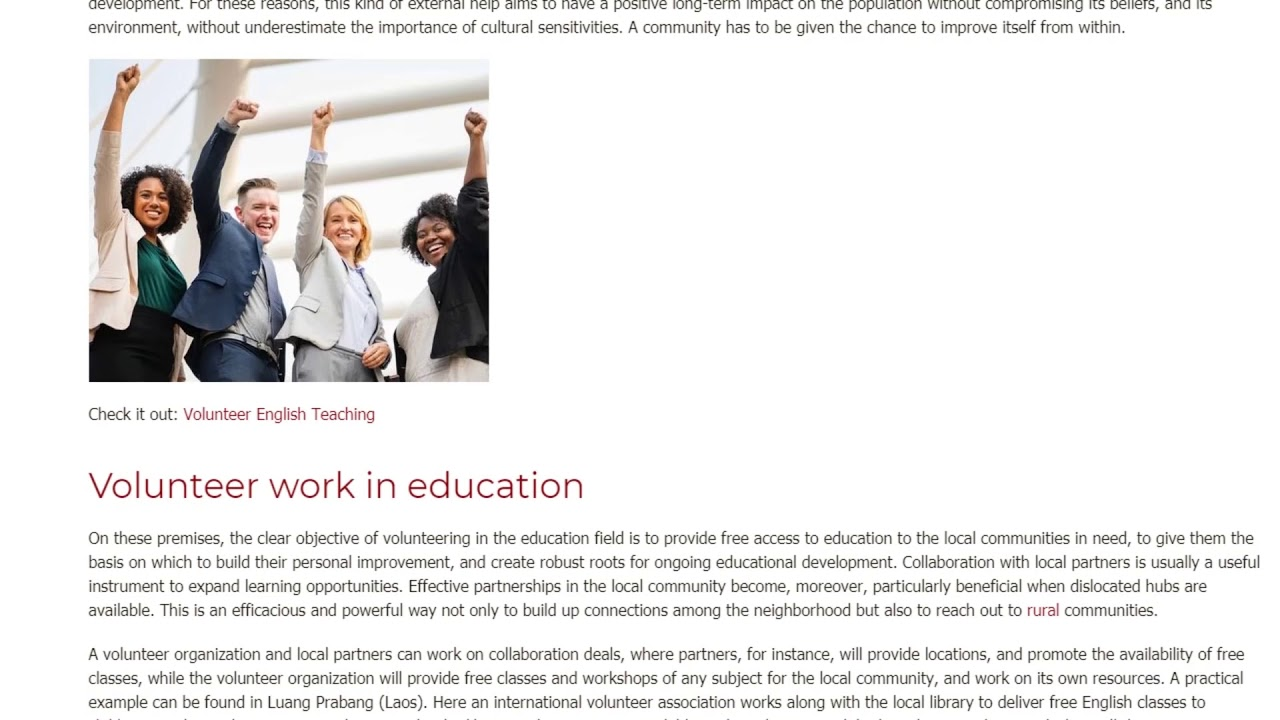 A Sustainable Volunteering Project for Quality Education   ITTT TEFL BLOG