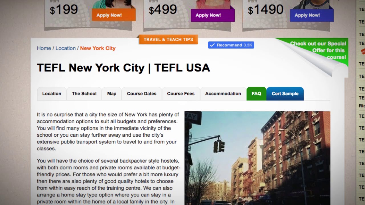 TEFL / TESOL School Accommodation in New York City, USA | Teach & Live abroad!