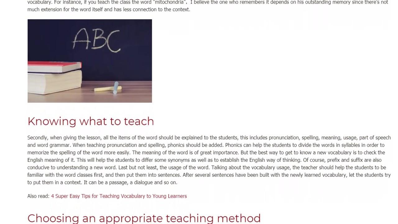 Important Ideas to Consider when Teaching Vocabulary | ITTT TEFL BLOG