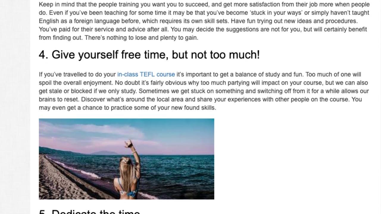 10 Tips To Help You Enjoy Your TEFL Course   ITTT TEFL BLOG