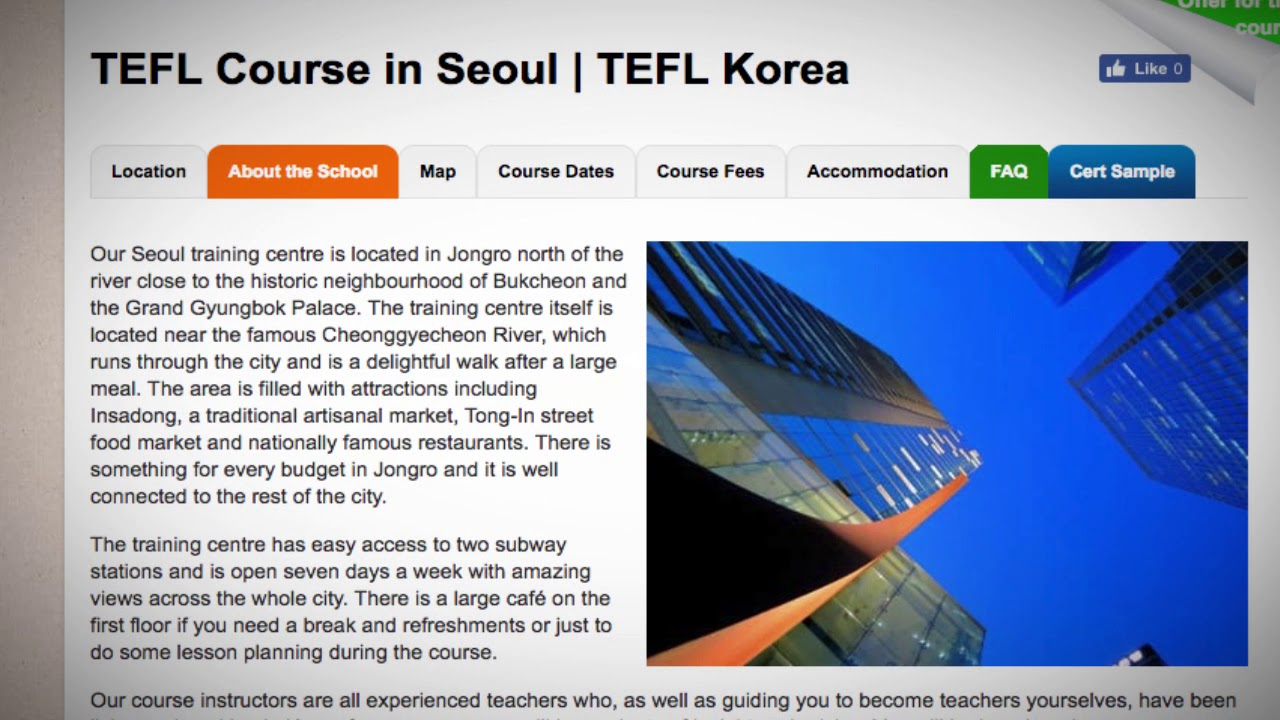 Welcome to Our TEFL / TESOL School in Seoul, South Korea   Teach & Live abroad!