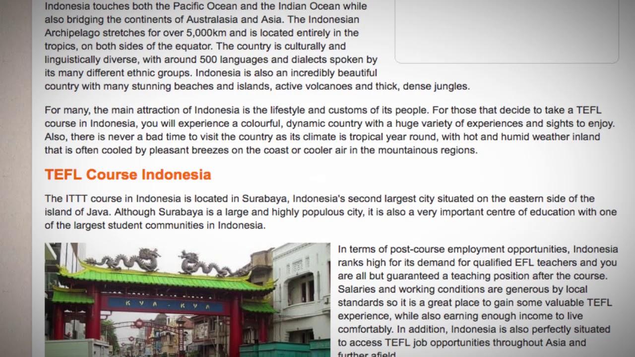 TEFL / TESOL Course in Indonesia | Teach & Live abroad!
