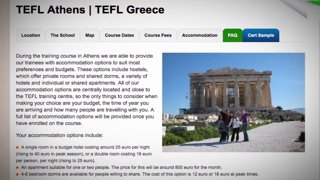 TEFL / TESOL School Accommodation in Athens, Greece | Teach & Live abroad!