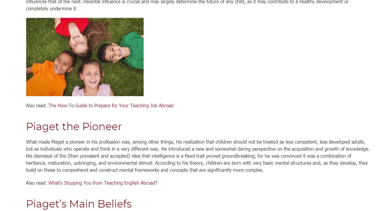 Child Development and Piaget's Theory – a Brief Summary | ITTT TEFL BLOG