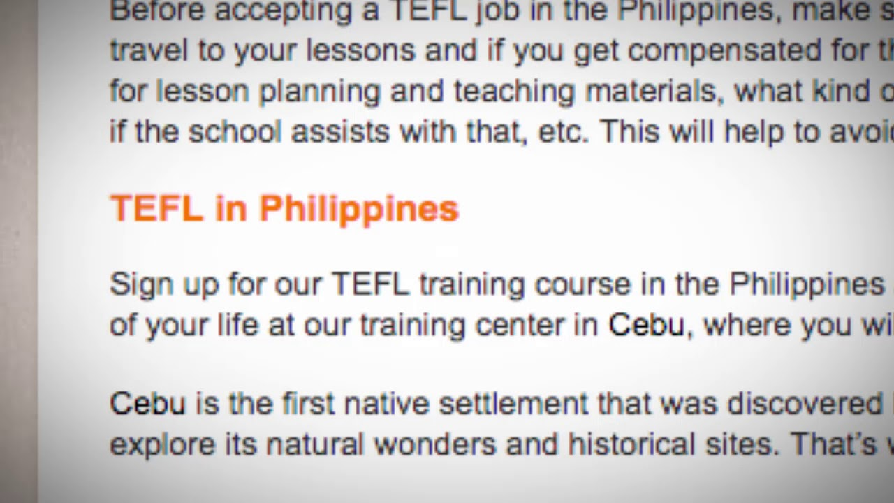 TEFL/TESOL Jobs in the Philippines | International TEFL and TESOL Training (ITTT)