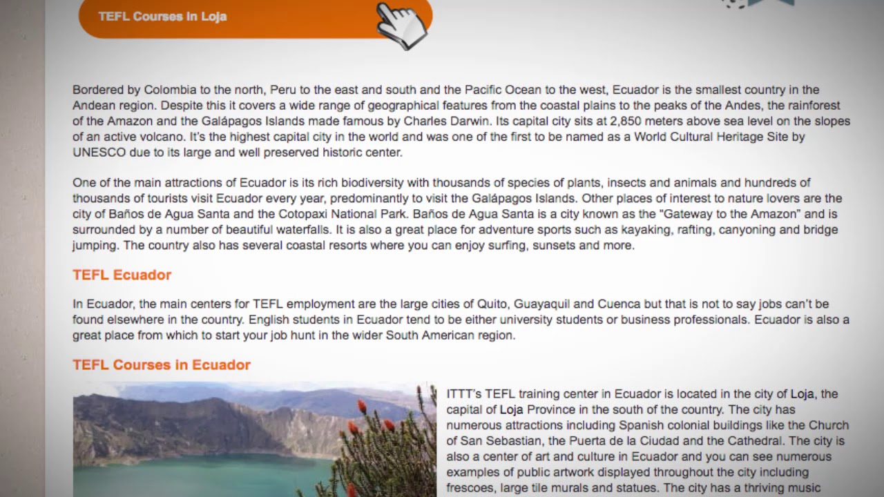 TEFL/TESOL Jobs in Ecuador | International TEFL and TESOL Training (ITTT)