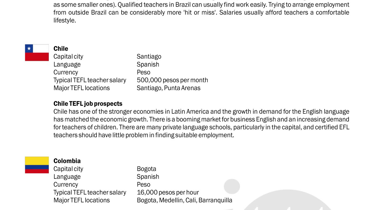 TEFL/TESOL Guide – Brazil, Chile & Colombia   International TEFL and TESOL Training (ITTT)