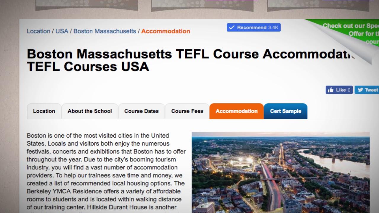 TEFL / TESOL School Accommodation in Boston, USA   Teach & Live abroad!
