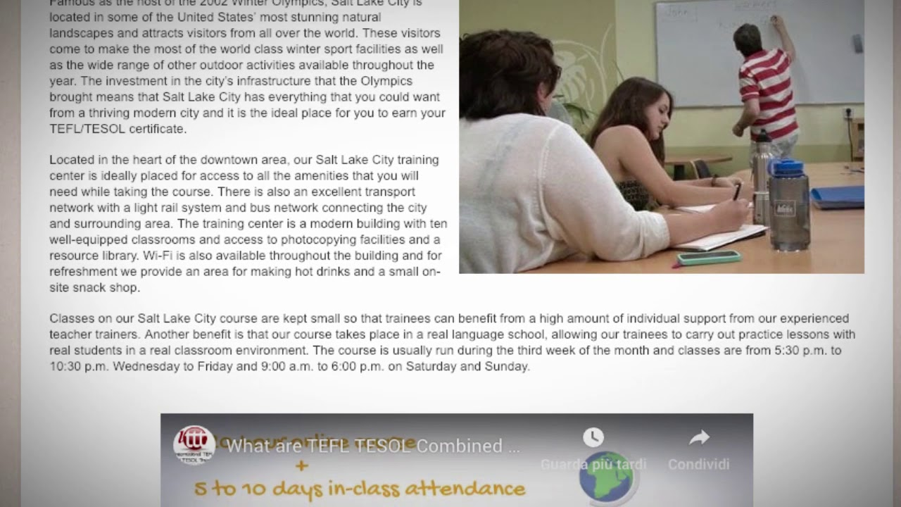 Welcome to Our TEFL / TESOL School in Salt Lake City, USA | Teach & Live abroad!