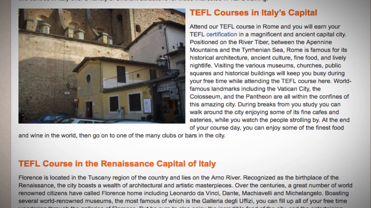 TEFL / TESOL Course in Italy | Teach & Live abroad!