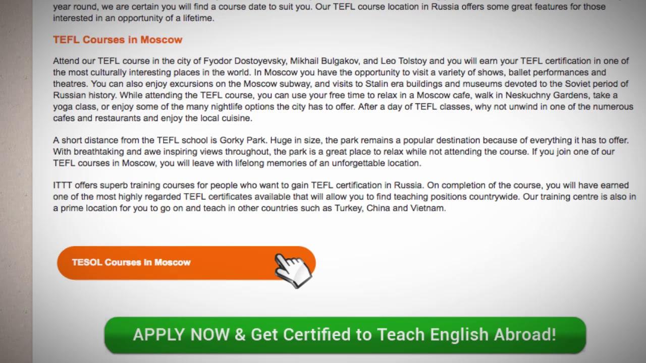 TESOL Course in Russia   Teach & Live abroad!