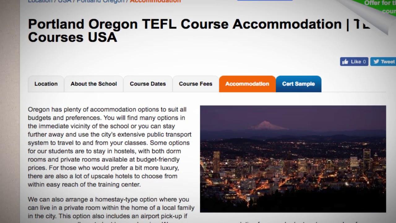 TEFL / TESOL School Accommodation in Portland, USA   Teach & Live abroad!