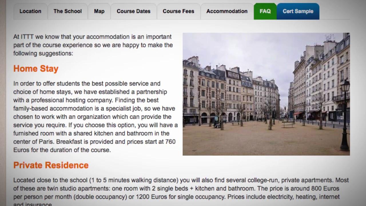 TEFL / TESOL School Accommodation in Paris, France | Teach & Live abroad!