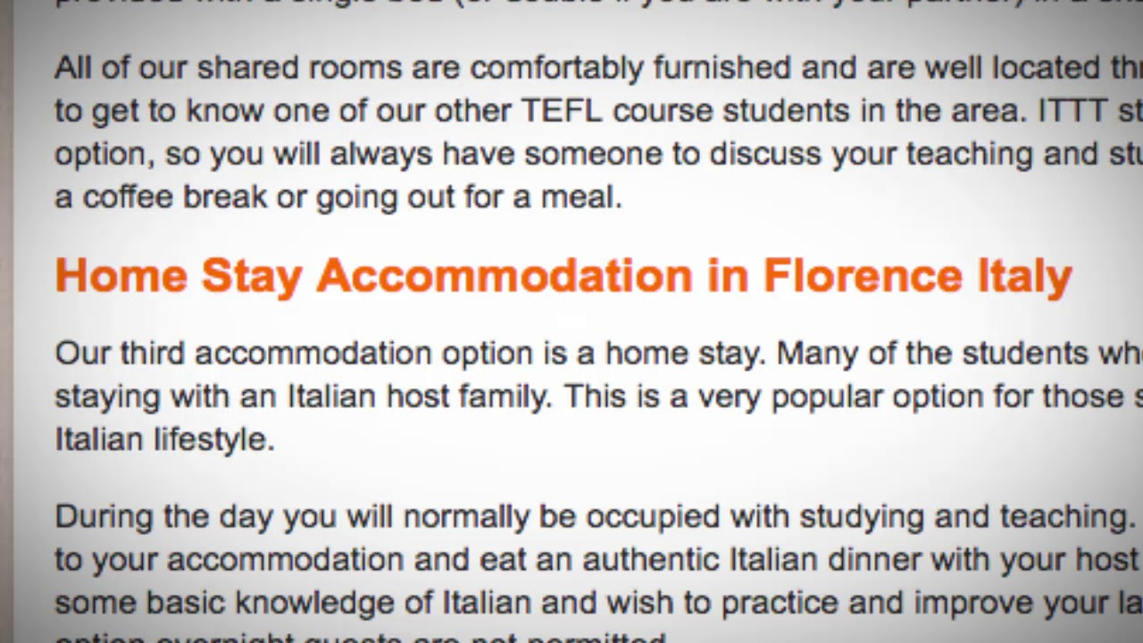 TEFL / TESOL School Accommodation in Florence, Italy | Teach & Live abroad!