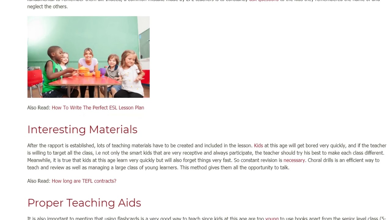 Features of Teaching EFL in a Kindergarten | ITTT TEFL BLOG