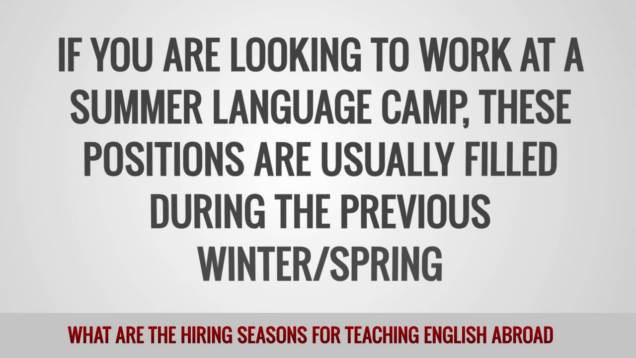 TEFL/TESOL FAQs – What are the hiring seasons for teaching English abroad?