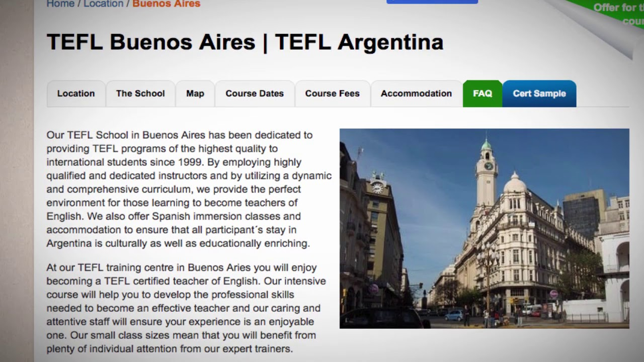 Welcome to Our TEFL / TESOL School in Buenos Aires, Argentina   Teach & Live abroad!