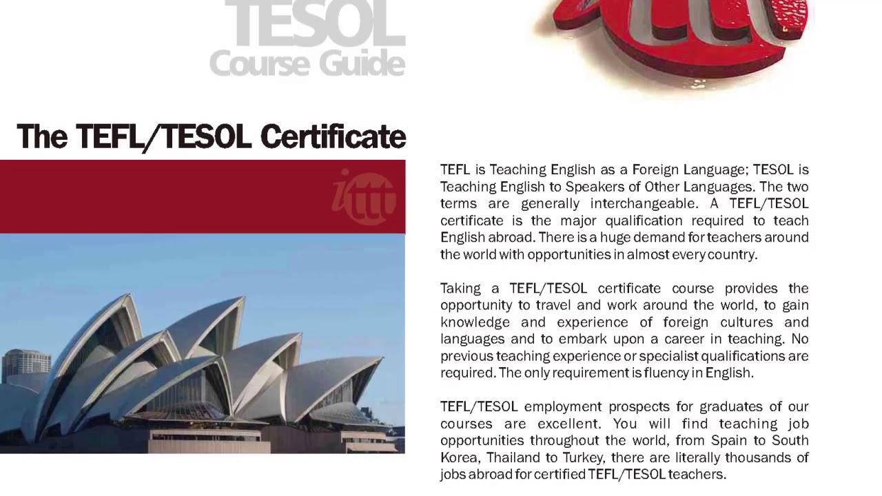 International TEFL and TESOL Training (ITTT)   The TEFL/TESOL Certificate