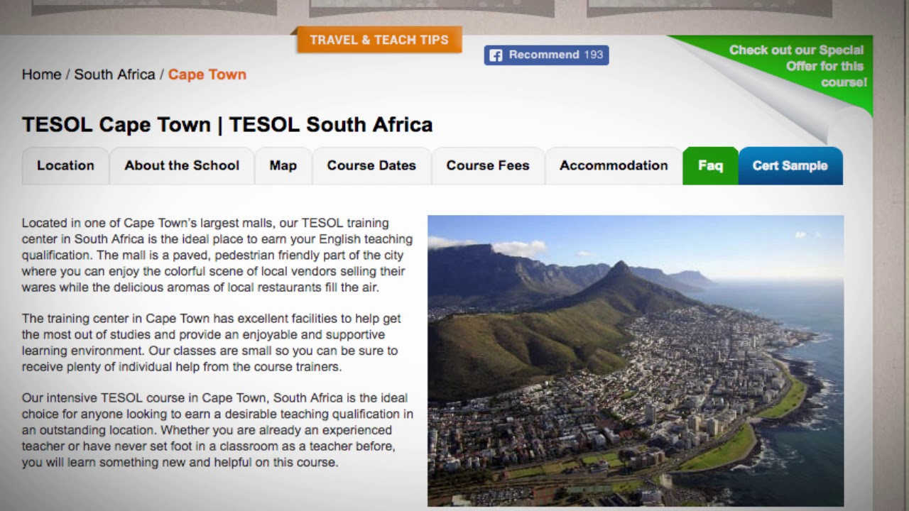 Welcome to Our TESOL School in Cape Town, South Africa | Teach & Live abroad!