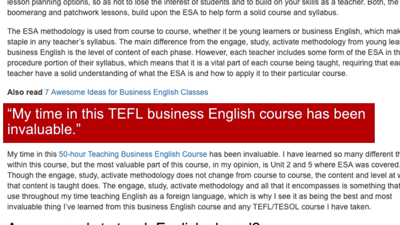 What I've Learned From My TEFL Course in Business English | ITTT TEFL BLOG
