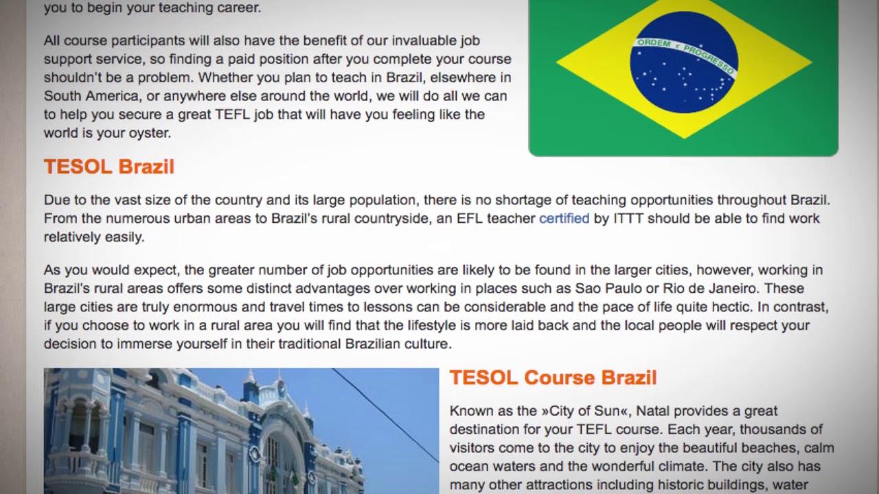 TEFL / TESOL Course in Natal, Brazil   Teach & Live abroad!