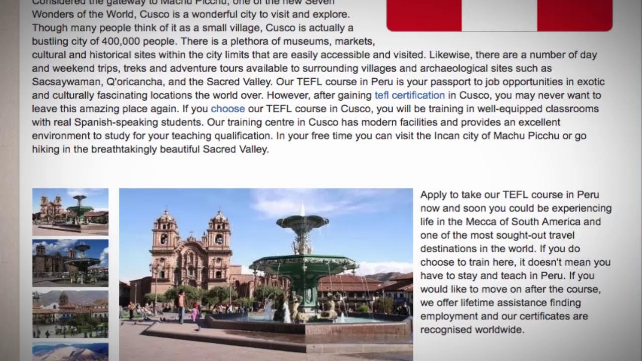 TEFL / TESOL Course in Cusco, Peru   Teach & Live abroad!
