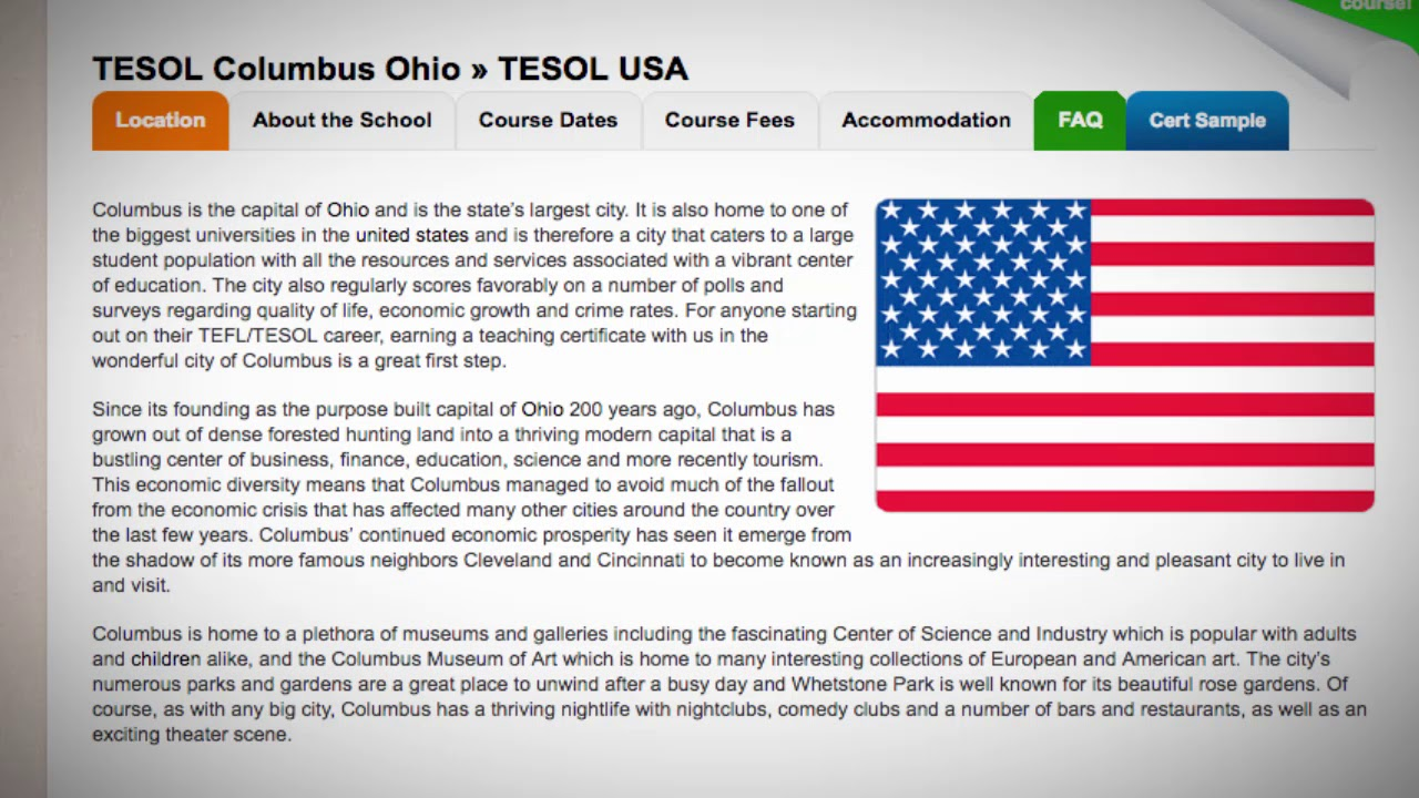 Combined TEFL / TESOL School in Columbus, USA | Teach & Live abroad!