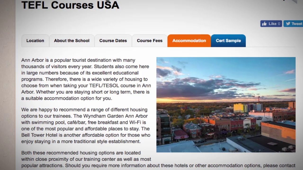 TEFL / TESOL School Accommodation in Ann Arbor, USA   Teach & Live abroad!