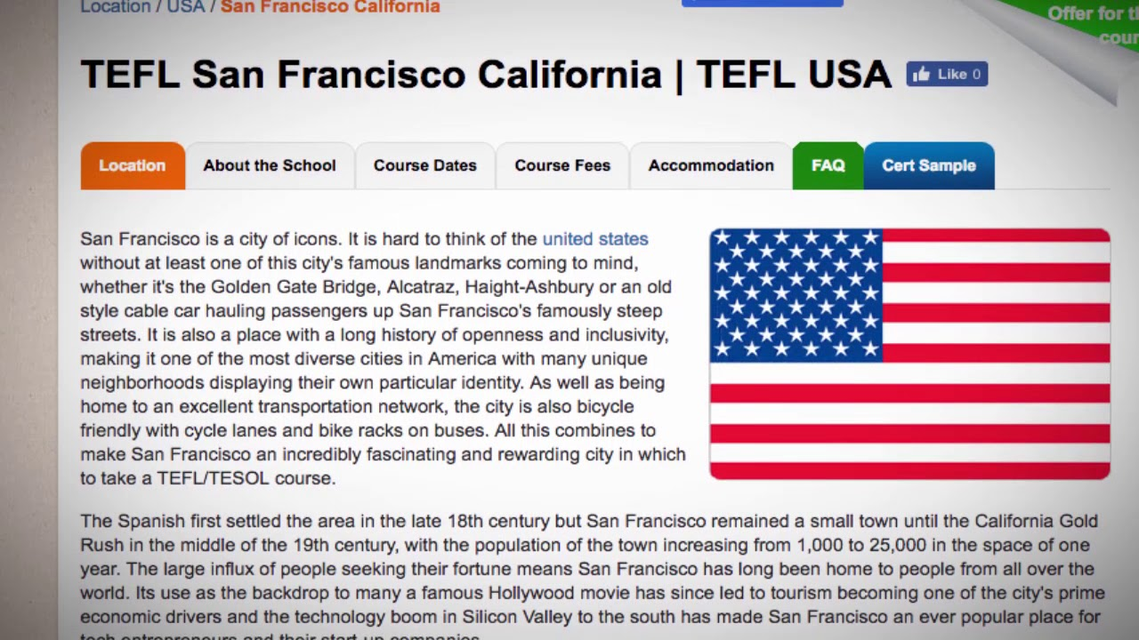 TEFL / TESOL Course in San Francisco, USA | Teach & Live abroad!