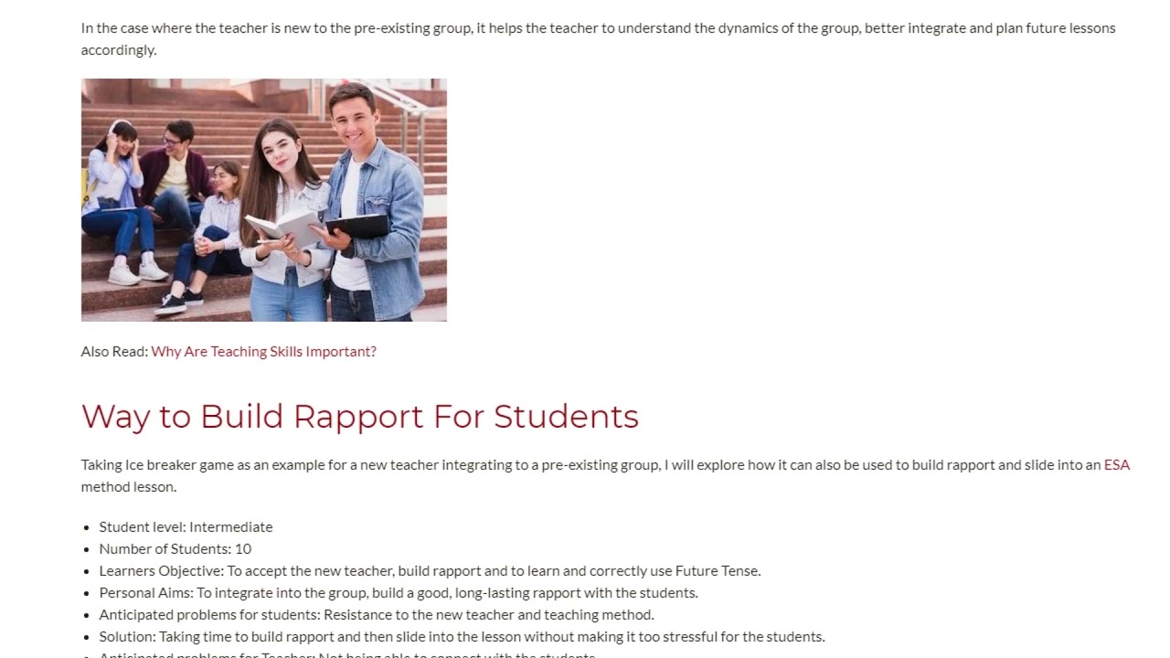 A Simple Ice-breaker For Students to Build Rapport With Each Other   ITTT TEFL BLOG