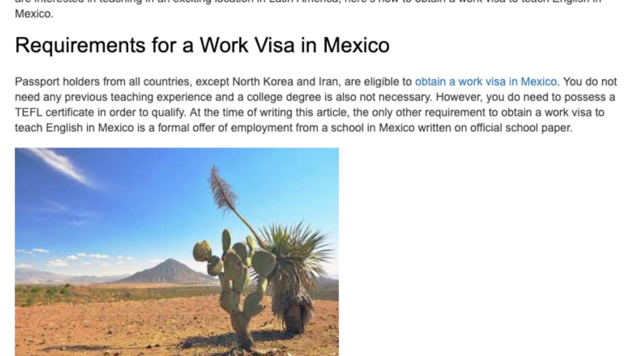 How to Obtain a Work Visa to Teach English in Mexico | ITTT TEFL BLOG