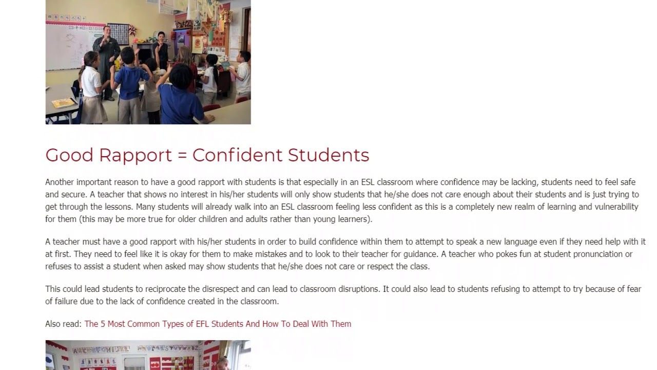 The Benefits of Having Good Rapport with Students   ITTT TEFL BLOG