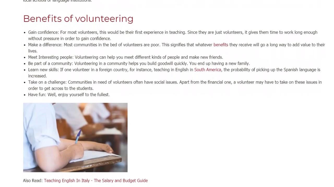 Benefits and Challenges of Being a Volunteer Teacher   ITTT TEFL BLOG