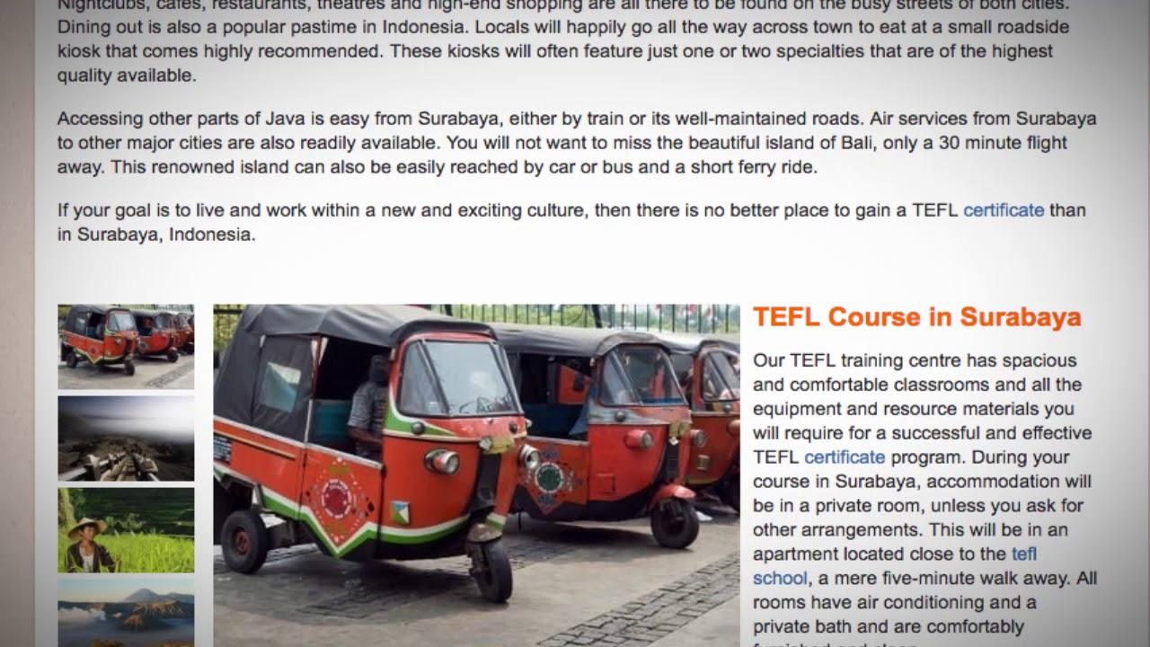 TEFL / TESOL Course in Surabaya, Indonesia | Teach & Live abroad!