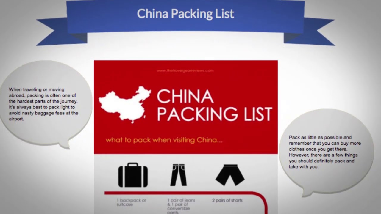 What should I pack when traveling to China?