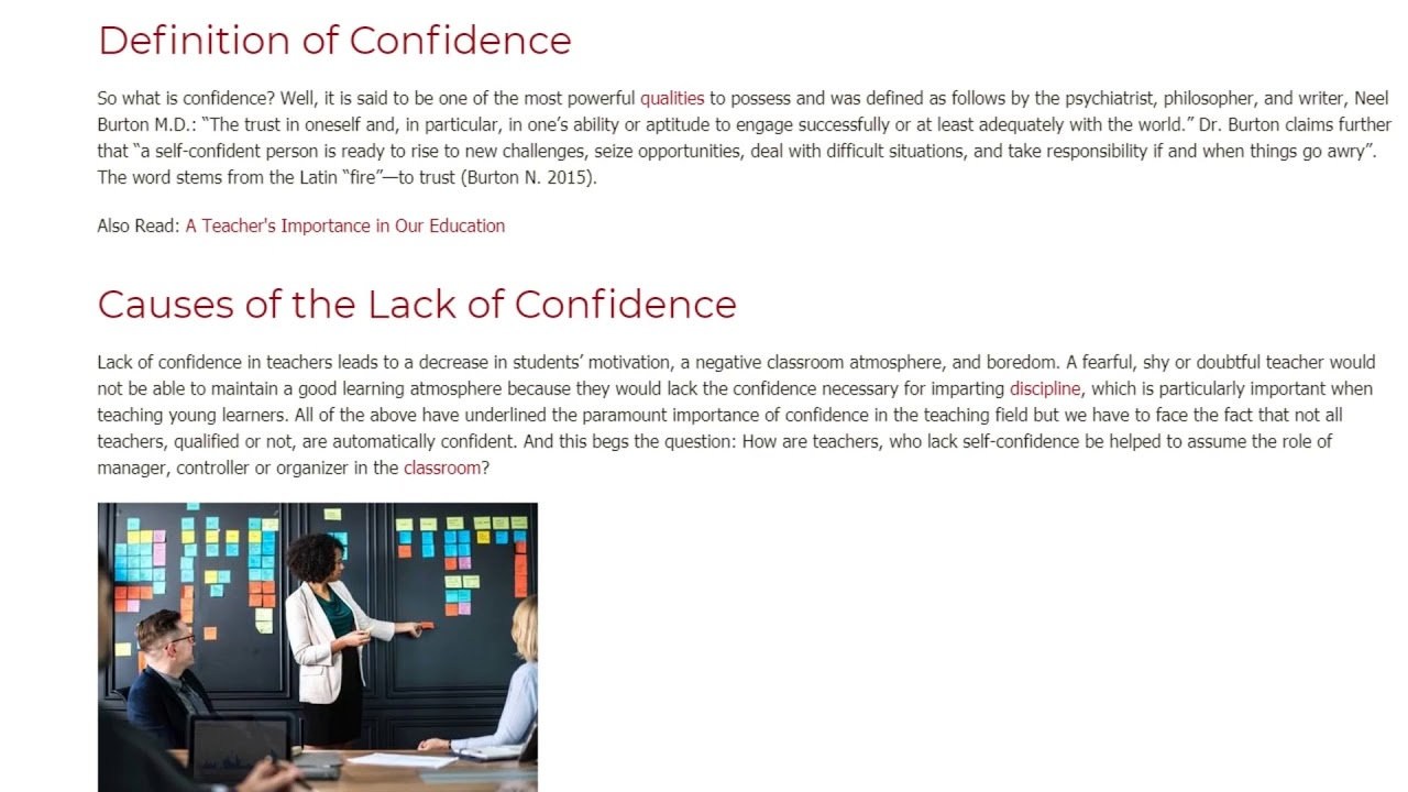 Guide for Teachers Lacking Confidence to Develop It | ITTT TEFL BLOG